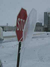 Stop sign ina North Dakota winter