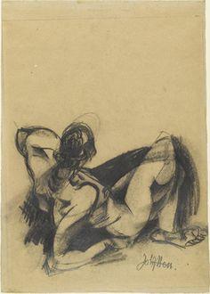 Female Nude (Weiblicher Akt)  Johannes Itten (Swiss, 1888–1967)    (c. 1917). Charcoal and pencil on paper, Johannes Itten