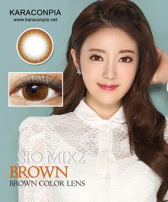#カラコン #カラコンぴあ ★シオミックス2ブラウン (Siomix2 Brown) DIA 14.5mm★ ブラウンカラーの自然なパターンとハッキリとしたふちが光るシリコンハイドロジェルレンズ。