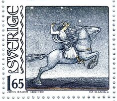 Swedish fairy tales illustrator John Bauer (1882-1918) Birth Centenary of John Bauer, engraver: Czeslaw Slania. Swedish post stamp, circa 1982