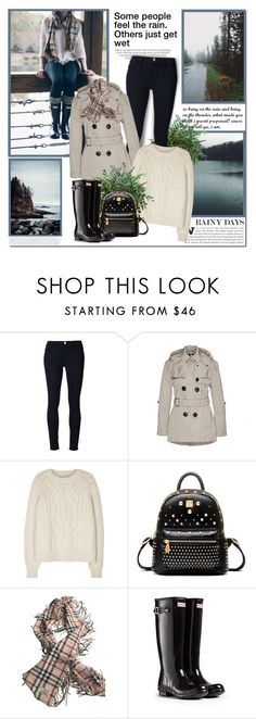 """""""Some people feel the rain. Others just get wet!!"""" by lilly-2711 ❤ liked on Polyvore featuring Kershaw, Frame Denim, Burberry, Isabel Marant and Hunter"""
