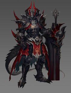 In armor Arhad Fantasy Concept Art, Fantasy Armor, Fantasy Character Design, Dark Fantasy Art, Character Design Inspiration, Character Art, Dragon Armor, Dragon Knight, Knight Art