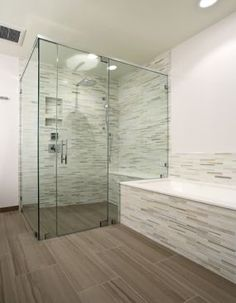 floating shower floor to drain | Frameless glass shower with liner drain & shower bench. Bathtub with ...