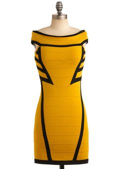 THIS IS A WOLVERINE DRESS OMG. Hometown Pride Dress. We dedicate this edgy, form-contouring dress to the place where ModCloth was born - none other than the Steel City! #yellow #modcloth