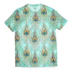 by SANA90 T-SHIRTS Peacock Feathers, Shades Of Blue, Blues, Shops, Men Casual, Women's Fashion, Fabric, Mens Tops, Cotton