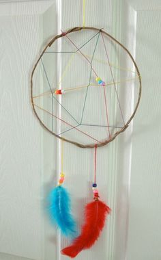Native American - Rainbow Dream Catcher: Summer Camp Crafts and Lessons for Kids: KinderArt ® Summer Camp Art, Summer Camp Crafts, Camping Crafts, Camping Ideas, Camping Theme, Crafts For Kids, Arts And Crafts, Teen Crafts, Dream Catcher Art