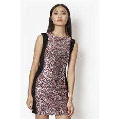 French Connection Lunar Sparkle Sequin Mini Dress ($60) ❤ liked on Polyvore featuring dresses, velvet rose, short bodycon dresses, sequin cocktail dresses, sequin bodycon dress, velvet mini dress and sequined dresses