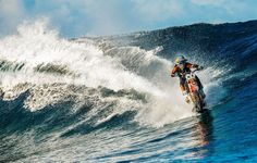 Robbie Maddison rides the waves on a KTM  dirt bike for the DC Shoes Pipe Dream video