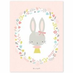 Poster enfant lapins fille Sweet Bunnies by Flora Waycott (30 x 40 cm)…
