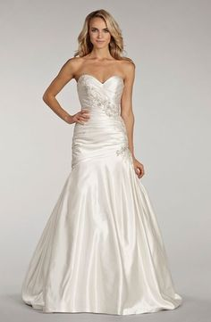 Sweetheart A-Line Wedding Dress  with Dropped Waist in Satin. Bridal Gown Style Number:32987554