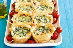 Spinach & cheese filo pies - Layer upon layer of deliciousness. But just 4 ingredients needed to make it.