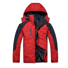 Hiking Waterproof Coat Men's Thick Windproof Fleece Hooded Jacket via martEnvy. Click on the image to see more!