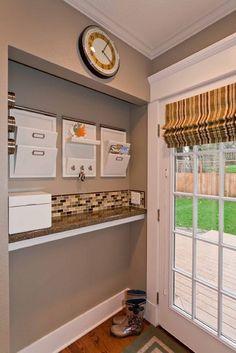 DIY: A ledge by the door to keep junk off the kitchen table. Good idea for a mud room or entryway