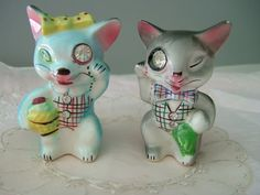 Lefton Rhinestone Cat Eye S & P Shakers