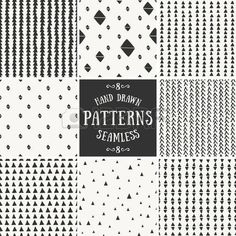 A set of hand drawn style abstract seamless repeat patterns  Stock Vector