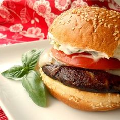 Grilled Portobello with Basil Mayonnaise Sandwich - Allrecipes.com