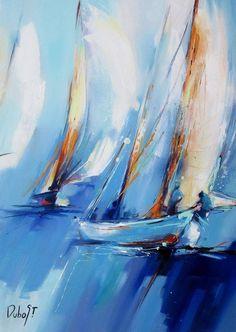 Sailboat Art, Sailboat Painting, Sailboats, Watercolor Flowers Tutorial, Watercolor Paintings, Sea Art, Seascape Paintings, Painting Inspiration, Art Pictures
