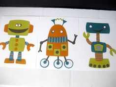 Beep Boop Boop Robots - Children's Art Prints - Nursery Wall Art (11x14 each)