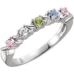 71087 / 14kt White / 3 STONE / Polished / RING FOR MOTHER