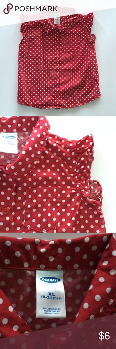 5 for $20 Polkadot Blouse Pretty red and white Polkadot blouse with ruffle shirt sleeves, chest pocket and front button enclosures. Old Navy Shirts & Tops Blouses