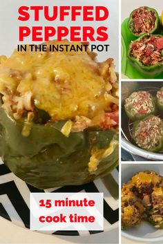 Super easy & delicious lunch or dinner that will be done cooking in 15 minutes! The prep time for these instant pot stuffed peppers is just 10 minutes, so you have a filling meal in just 25 minutes! via @easylivingtoday