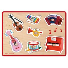 Puzzle Musical Instruments Fleurus JANOD A wooden puzzle ideal for the little ones! It contains seven colorful pieces depicting musical instruments, each of which is very easy to pick up thanks to the studs. This toy will help awaken your little one. Wooden Puzzles, Wooden Toys, Jigsaw Puzzles, Piano, Instrument Sounds, Shops, Animal Rescue Site, Baby Kind, Bunt