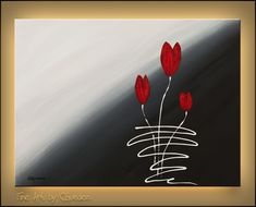 """""""Red Tulips"""" - Flowers - Abstract Painting by Carmen Guedez www.carmenguedez.com"""