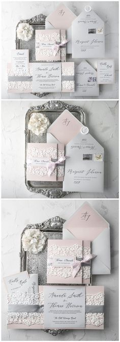 Grey and pink vinatge lace wedding invitations