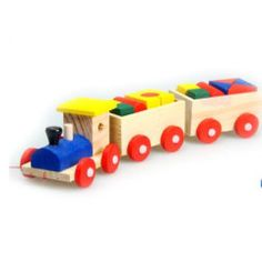 3 parts Drag Wooden Toys Early Stacking Train For Boys Girls Children Baby Kids Blocks Set Wood