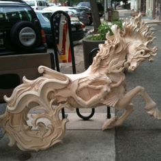 The Carousel's Hippocampus, before being sanded/painted.