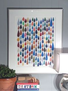 DIY art--raindrops made of scrap paper