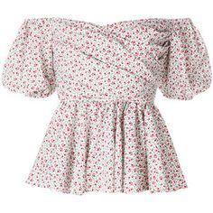 VIVETTA Rose-Print Cotton Peplum Top