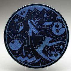 Cowan Pottery; Schreckengost (Viktor), Plaque, Danse Moderne, Egyptian Blue Glaze, 11 inch.