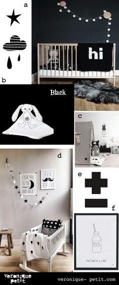 Monochrome Kid's room: black a- the boo and the boy b- qukel c-smallable d- ensuus e&f- lilipinso http://www.veronique-petit.com/fr/blog/