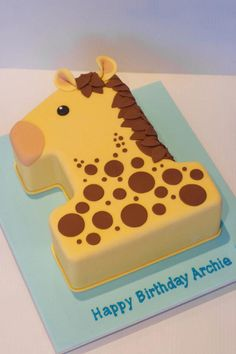 Number Cakes & Dessert Ideas For Single Digit Birthdays - The Effective Pictures We Offer You About Birthday Cake A quality picture can tell you many thin Giraffe Birthday Cakes, Toddler Birthday Cakes, Number Birthday Cakes, Baby First Birthday Cake, Giraffe Cakes, Creative Birthday Cakes, 20th Birthday, Number One Cake, Number Cakes