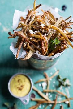 Skinny Greek Feta Fries with Roasted Garlic Saffron Aioli | halfbakedharvest.com @hbharvest