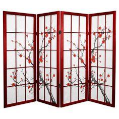 Spruce Wood and Rice Paper Cherry Blossom Shoji Screen (China ...