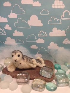 OOAK  needle felted arctic seal pup beach and by weewooleybeasties