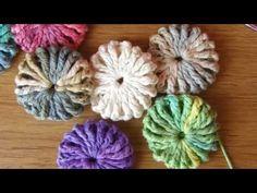 Flor puff (o flor yo-yo) a crochet - YouTube