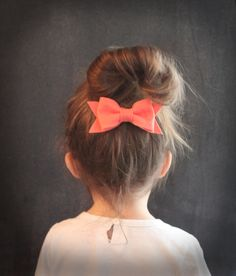 Spring bow hair clip set . set of three hair bows . coral, apple and sky blue . little girl hair bow clips . spring fashion .. $21,00, via Etsy.