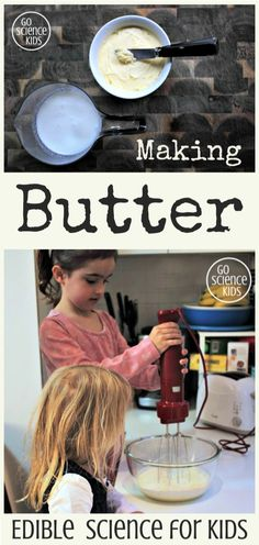 Make your own butter buttermilk from cream, and witness food science in your kitchen! Learning about where our food comes from, and how we can one food type into another, is a great edible science activity for kids! From Go Science Kids. Easy Science Experiments, Stem Science, Food Science, Science Lessons, Lessons For Kids, Food Chemistry, Chemistry Lessons, Summer Science, Science Projects For Preschoolers