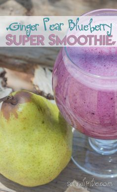 This Ginger Pear Blueberry Super Smoothie packs a powerful punch, and is great for keeping you hydrated and going in the summer heat! | Serindipitie.com Smoothie Packs, Summer Heat, Enough Is Enough, Pear, Punch, Blueberry, Make It Yourself, Food, Meal