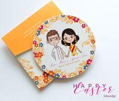 Retro Chic - Saffron Creative Wedding Invitation Cards #Retro #Cartoon #Illustration #Couple #Floral #Indian #Wedding #Invitation #Card  #Circular #Cut #Modern