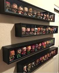 Baseball bat cases to display Pops! More A display case presents the inner-self of the creator. With a look at the display case, you can know the person inside. There are DIY display case ideas. Funko Pop Display, Toy Display, Display Cases, Funko Pop Shelves, Glass Display Shelves, Shadow Box Display Case, Display Ideas, Lego Display Case, Display Cabinets