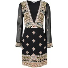 True Decadence Embroidered Tunic Dress (£75) ❤ liked on Polyvore featuring dresses, women, long sleeve v neck dress, see through dress, v neck dress, party dresses and bodycon dress