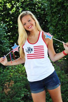 Monogrammed American Apparel Patriotic Tank Tops from Marleylilly.com. #USA #AMERICA #REDWHITEANDBLUE
