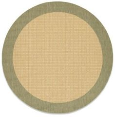 Couristan 7-Foot 6-Inch Round Checkered Field Rug in Natural/Green