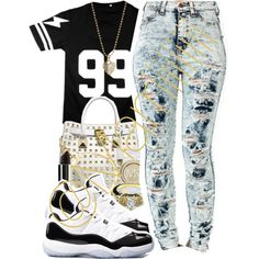 A fashion look from May 2014 featuring short sleeve shirts, distressed jeans and black and white shoes. Browse and shop related looks. Teenage Outfits, Teen Fashion Outfits, Outfits For Teens, Fall Outfits, Summer Outfits, Cute Swag Outfits, Dope Outfits, Casual Outfits, Outfits With Jordans
