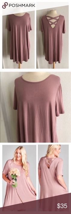 "Dress with pockets 95% rayon/ 5% spandex. Very soft and stretchy! This dress has POCKETS!! I would call the color a medium Marsala tone. Very true to size- I'm a 2x/16/18 and the 2x fit perfectly.  XL: L 39"" B 40"" 2x: L 40"" B 42"" 3x: L 41"" B 44"" ⭐️This item is brand new without tags 💲Price is firm unless bundled ✅Bundle offers Availability: 3X • 1 Dresses"