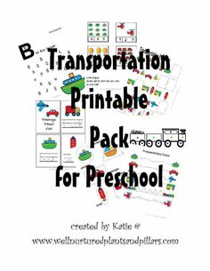 Transportation Printable Pack for Preschool. Includes tracing, writing, counting, shapes... FREE!!!
